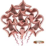 SKYIOL Globos de Papel de Aluminio con Forma de Corazón Estrella Oro Rosa 25 unidades 45 cm, Globos Grandes con 10m Cinta para Bodas Cumpleaños Compromisos Fiestas Decoraciones
