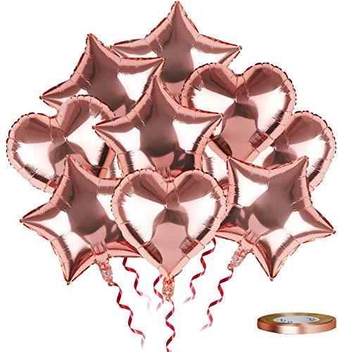 SKYIOL Folienballon Herz Stern Rosegold Valentinstag Deko 25 Stück 45cm Helium Folie Luftballons Große Ballons mit 10m Rose Gold Band für Hochzeit Geburtstag Verlobung Party Dekorationen