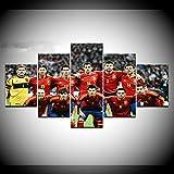 lcyfg Pintura sobre Lienzo España Equipo de fútbol 5 Piezas Arte de Pared Pintura Modular Sport Wallpapers Poster Print para Sala Decoración para el hogar(Marco)