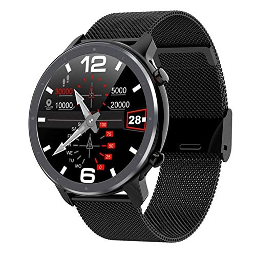 NUNGBE Smartwatch, Herren-Vollkreis-Touchscreen-EKG-Herzfrequenz-Wetteranzeige, IP68-Damen-Smartwatch, geeignet für Android IOS Smart Sports Watch-Black_Steel