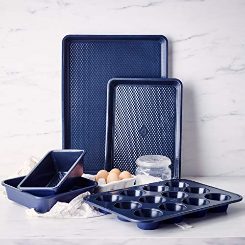 Blue Diamond Cookware Bakeware Cookware Premium Nonstick Steel Baking Pans and Cookie Sheets, Set, 5 Piece