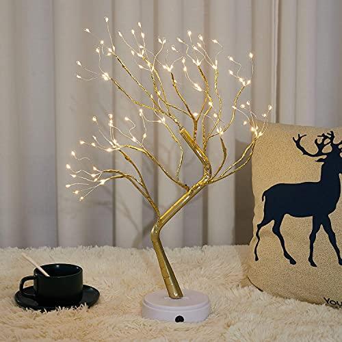Firefly Bonsai Tree lamp - Celtic Fairy Light Spirit Tree - 20' Fairy Light Tree, 108 LED DIY Artificial Golden Branch Warm White - Battery/USB Operated, for Children's Room, Bedroom, Xmas