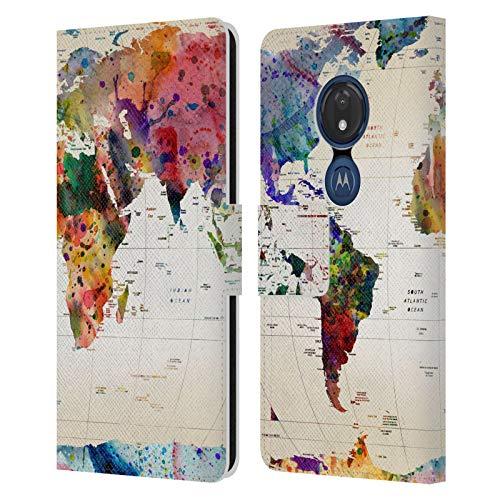 Head Case Designs Offizielle Zugelassen Mark Ashkenazi Weltkarte Pop Kultur Leder Brieftaschen Handyhülle Hülle Huelle kompatibel mit Motorola Moto G7 Play