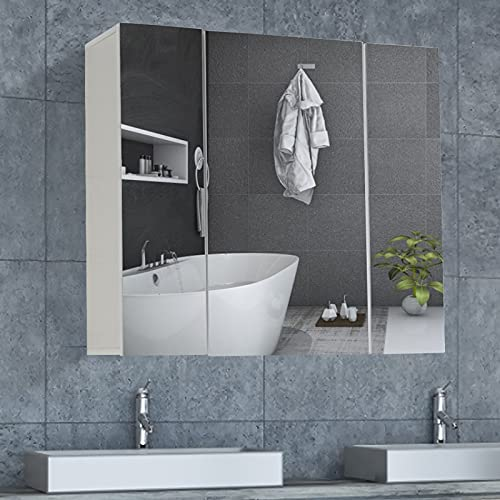 DICTAC Armario Baño con Espejo 70x60x15cm Armario de Baño de Pared con 3 Puertas y Estante Ajustable de 3 Niveles,Armarios con Espejo con Gran Espacio de Almacenamiento,Blanco