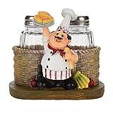 Lindo chef estatua sal y pimienta titular de la botella adornos decoración de la casa cocina artesanías de resina(5.71 * 5.31 * 4.53 pulgadas)