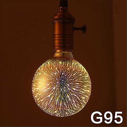 Sarplle 3D Feuerwerk Glühbirne E27 4 W Vintage Edison Glühlampe Beleuchtung Farbige Leuchtmittel für Weihnachten, Zuhause, Hotel, Bar, Festdekorationen [Energieklasse A+]