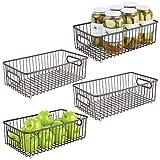 mdesign set da 4 cesti portaoggetti in metallo – organizer versatile con manici – contenitore universale ideale per cucina o bagno – bronzo
