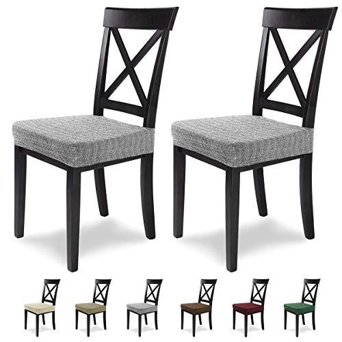 SCHEFFLER-Home Anna 2 Fundas para Asiento de sillas, Estirable Cubiertas, extraible Funda con Banda elastica, Gris