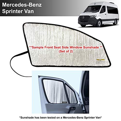 YelloPro Front Seat Side Sunshade Custom Fit for Mercedes Benz Sprinter Van - 2007 2008 2009 2010 2011 2012 2013 2014 2015 2016 2017 2018 2019 2020 2021 - Freightliner Cargo Crew Passenger Motorhome