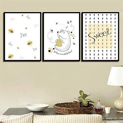 NLZNKZJ Kinder Gemälde Minimalismus Poster Prinzessin Wandkunst Bilder, Cartoon Bär Biene Leinwand Für Kinderzimmer Wohnkultur 50x70 cm x 3 kein Rahmen