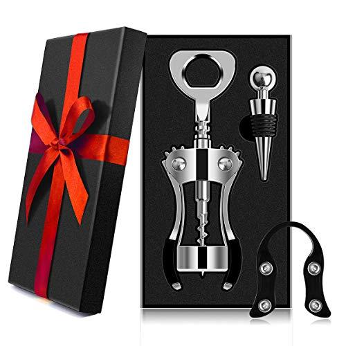 AUNOOL Corkscrew Wine Opener - Heavier Wing Corkscrew Wine Bottle Opener, Bottle Stopper and Foil Cutter, Premium Corkscrew with Zinc Alloy