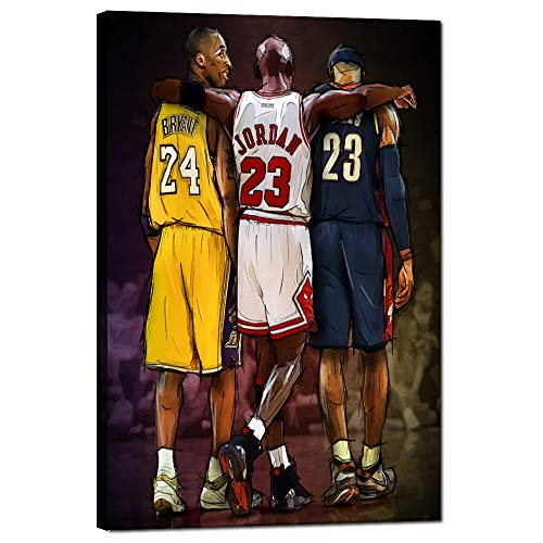 Basketball Star Memorabilia Gifts NBA Legends Michael Jordan Lebron James Kobe Bryant Inspirational Posters Wall Art Prints on Canvas Picture Stretched and Framed Modern Home Decor [12''W x 18''H]
