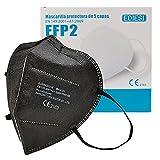EDIESI Mascarilla FFP2 Homologada 5 capas Protección Respiratoria pack 10 unidades Negro CE 2163 EN 149:2001+A1:2009