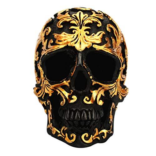 VOSAREA Calavera de Resina Modelo Cráneo Humano Lujosa Figura Cráneo Adornos de Esqueleto Calavera Decoración de Halloween