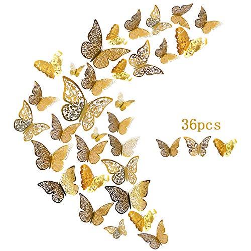 DONQL 36 Stück Wandtattoo Schmetterlinge 3D Schmetterling Dekorationen Aufklebe Deko Schmetterling Wandaufkleber für Wohnung Türen Fenster Badezimmer Dekoration 3 Größen, 3 Formen (Gold)