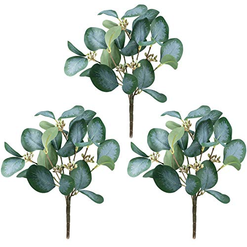 3 Pcs Fake Eucalyptus Leaves Stems Artificial Silver Dollar Eucalyptus Leaves Branches with Seeds for Wedding Holiday Party Greenery Decoration Indoor Floral Vase Bouquets Centerpiece Arrangement