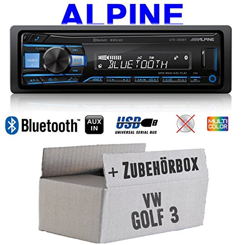 Autoradio Radio Alpine UTE-200BT Bluetooth USB MP3 | 1-DIN PKW KFZ 12V Einbauzubehör - Einbauset für VW Golf 3 III - JUST SOUND best choice for caraudio