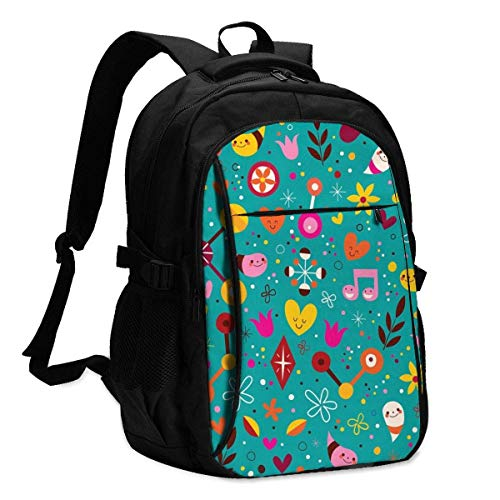 IUBBKI Nature Love Harmony Fun Characters Office & School Supplies with USB Data Cable and Music Jack Laptop Bags Computer Notebook 18.1X13.3 inch
