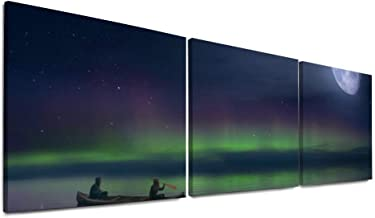ART VVIES para Decoraciones del hogar Impresiones en Lienzo 16 x 16 Pulgadas x 3 Piezas Paisaje Mar Aurora Boreal Cielo Nubes Luna Madera Enmarcado Maravilloso Cuadro de Pared con Ganchos
