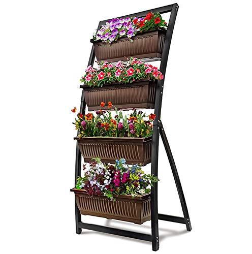 KHOMO GEAR Jardinera Vertical con 4 Macetas Huerto Urbano para Flores y Plantas Jardín Terraza Balcón Interior Exterior - Marrón y Negro