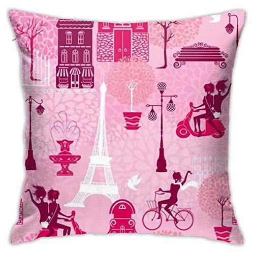 Fundas para cojines Póster Pink Charm Paris Girls montando en scooter Torre Eiffel Funda de cojín con impresión clásica de algodón suave y poliéster