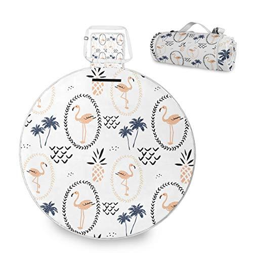 Flamingo - Manta de picnic grande para exteriores, impermeable, práctica esterilla de picnic para la familia, camping, playa, parque redondo, 59 pulgadas