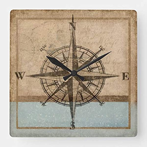 TattyaKoushi 15 By 15 Inch Wooden Wall Clock Compass Rose Clock 1 Copyright Karen J Williams For Kitchen Bedroom Living Room Home Office Decor