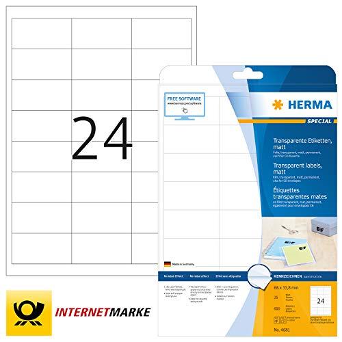 HERMA 4681 Wetterfeste Folien-Etiketten DIN A4 transparent (66 x 33,8 mm, 25 Blatt, Polyesterfolie, matt) selbstklebend, bedruckbar, permanent haftende Klebefolie, 600 Klebeetiketten, durchsichtig