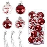 Bolas de Navidad Pintadas 6cm, Speyang Bolas de �rbol de Navidad Adorno, Esfera Transparente Plastico, Decoración de Bolas de Navidad Arbol, para Fiesta Decoraciones Festivales(20 Piezas) (Rojo)