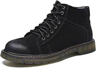 JIANFEI LIANG Ankle Boots for Men High Top Casual Classic Lace up Shoes Durable Leather Upper Round Toe Wear Resistant Oxford (Color : Gray, Size : 39 EU)