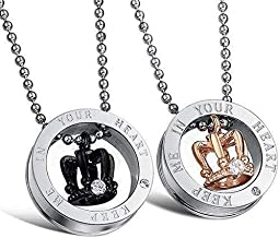 His & Hers Crown Pendant Stainless Steel Love Necklace 2 Pic Set Couples Gift for Lover Valentine 2955