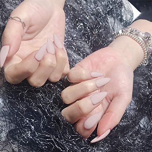 rpbll 24 Pcs Couverture Complète ongles conseils Violet Pointu Tête Gommage DIY Frais Tempérament presse sur les ongles Wearable Stiletto faux Ongles avec de la Colle