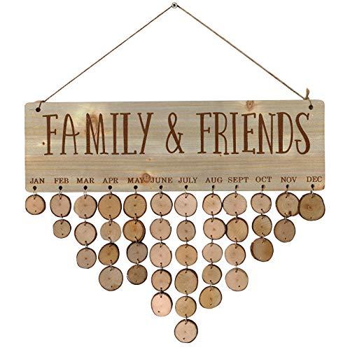 clacce Wooden Family Birthday Plaque Friends Remembrance Calendar Gift for Home Decoration Handgemachtes Kalenderhandwerk zum Valentinstag