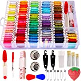 200pcs+ Embroidery Floss Cross Stitch Threads,Bracelet String Kit with Organizer Storage Box-Included 100pcs Friendship Bracelet Craft Floss,100pcs More Cross Stitch Tools Embroidery Kit for beginners