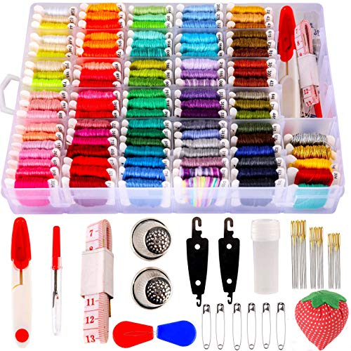 200pcs+ Embroidery Floss Cross Stitch Threads, Bracelet String Kit with Organizer Storage Box-Included 100pcs Friendship Bracelet Craft Floss, Cross Stitch Tools Embroidery Kit