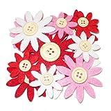 Glorex Filzblumen, Filz, Rot/weiß/pink, 9.5 x 9.5 x 1.5 cm