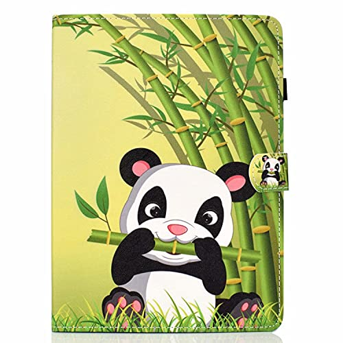 TTNAO Funda Compatible con iPad Pro 11 (2020) Case de TPU Suave Carcasa [+ Ranuras para Tarjetas] [+ Soporte de Visualización] Cover de Piel Cartera Plegable, Panda