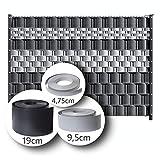 LeoDalm Sichtschutzstreifen für Doppelstabmatten Premium-PP (Polypropylen) 3D Zaun Stärke 1,7mm (9,5cm × 52m, Anthrazitgrau)