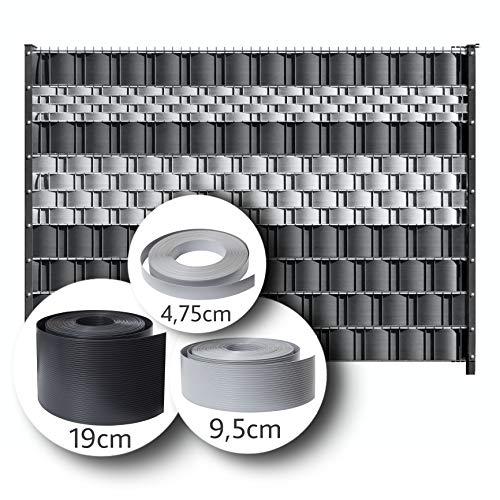 LeoDalm Sichtschutzstreifen für Doppelstabmatten Premium-PP (Polypropylen) 3D Zaun Stärke 1,7mm (19cm × 26m, Anthrazitgrau)