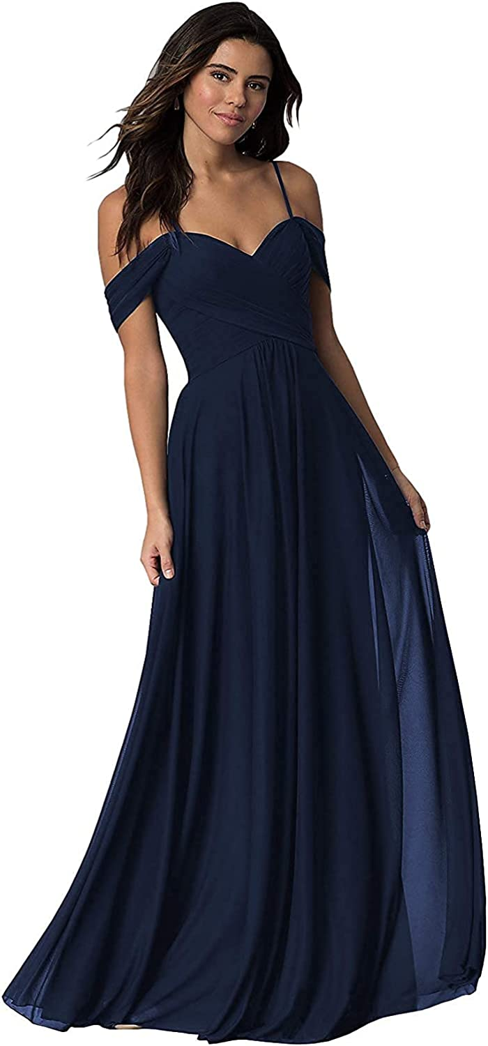 AIBAOS Off Shoulder Bridesmaid Dress A Line Ruched Formal Evening Party Gown