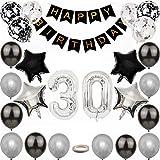 Kiwochy Negra Plata 30 cumpleaños Decoraciones Set Hombre cumpleaños Feliz Guirnalda Plateado Globo Feliz cumpleaños número 30 decoración para niñas y niños