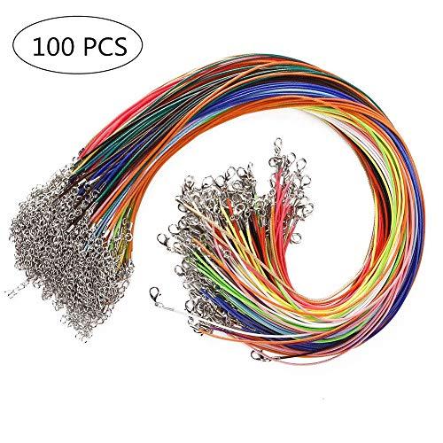 Cuerda de Cuero,100 Piezas Cordón de Algodón Encerado 1.5 mm Encerado Algodón Collar con Broche de Langosta y Cadena para Hacer Pulseras de Collar Fabricación de Joyas