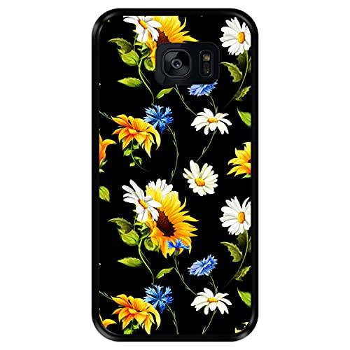 Hapdey Funda Negra para [ Samsung Galaxy S7 Edge ] diseño [ Patrón Floral, Flores Multicolores 2 ] Carcasa Silicona Flexible TPU