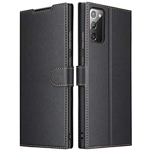 ELESNOW Hülle für Samsung Galaxy Note 20 / Note 20 5G, Premium Leder Flip Schutzhülle Tasche Handyhülle mit [ Magnetverschluss, Kartenfach, Standfunktion ] für Galaxy Note 20 / Note 20 5G (Schwarz)