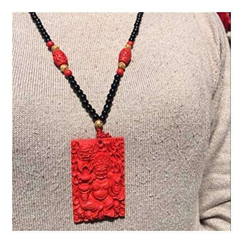 Présent Pendentif Collar Y Natural Cinabrio Colgante Elaborada Red Devil Colgante Encanto Afortunado De Los Hombres De Las Mujeres (Metal Color : Brown Rope Style)