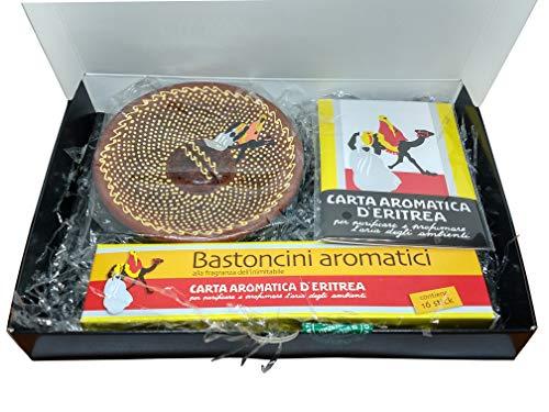 Casanova | Porta Incenso per Bastoncini | Piattino Bruciatore Essenze E Foglietti | Confezione Regalo | 24 Listelli + 1 Piattino + 16 Bastoncini