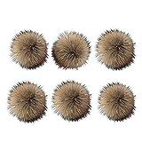 6 Unids 15 cm Faux Fox Fur Fluffy Pompom Ball con Botón de
