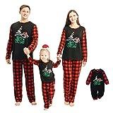 puseky Pigiama Coordinato Natalizio in Famiglia Set Camicia Scozzese Rossa + Pantaloni Indumenti da Notte Genitore-Figlio Homewear Abiti Natalizi