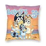 FT FENTENG Velvet Soft Vintage Home Decor Square Throw Pillow Case Wedding Gift, Blue Cartoon Blue H-ee-ler Dog Bedbug Proof Cushion Case for Outdoor Bedroom, 16x16 Inch