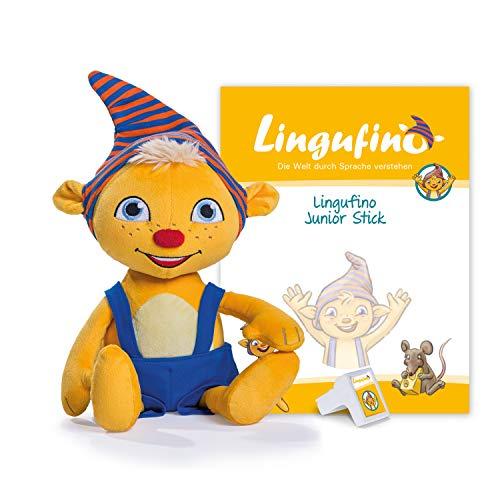 DIALOG TOYS Lingufino Junior Starter Set mit Plüschfigur, Lernspielzeug mit Spracherkennung ohne Internet, geeignet zur Sprachförderung, erweiterbar, für Kinder ab 3 Jahren, ca. 38 cm
